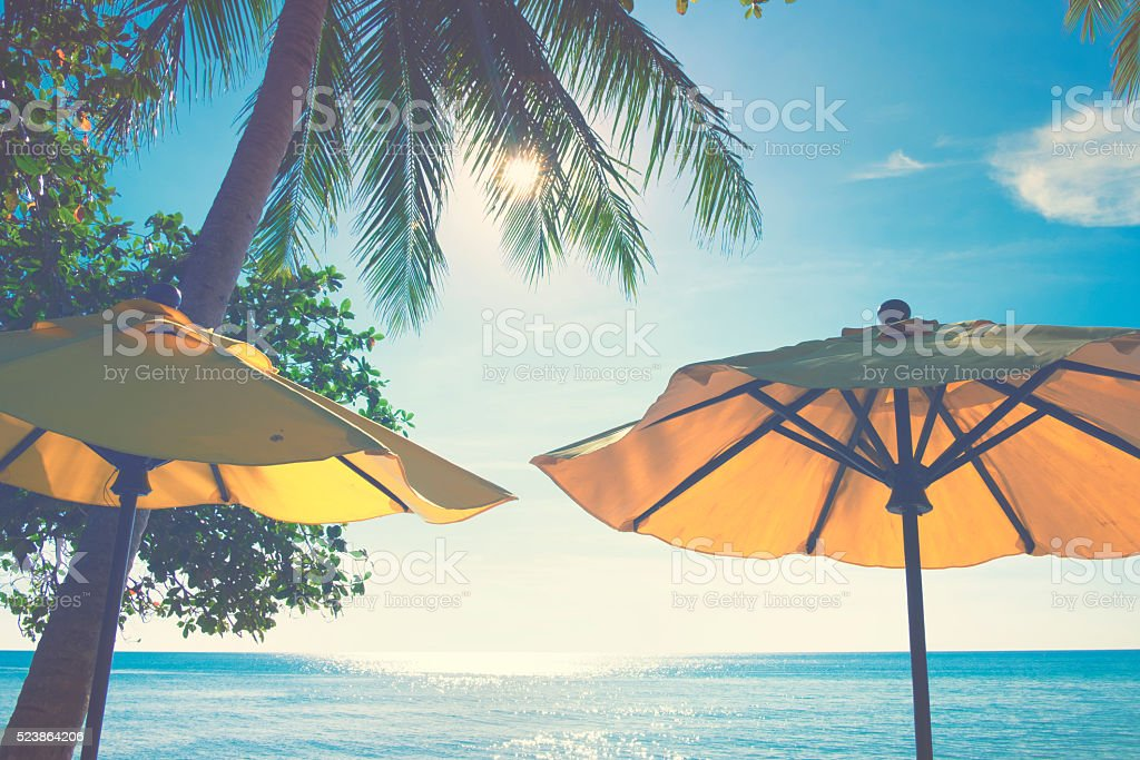 Parasol in front of tropical scenery stock photo