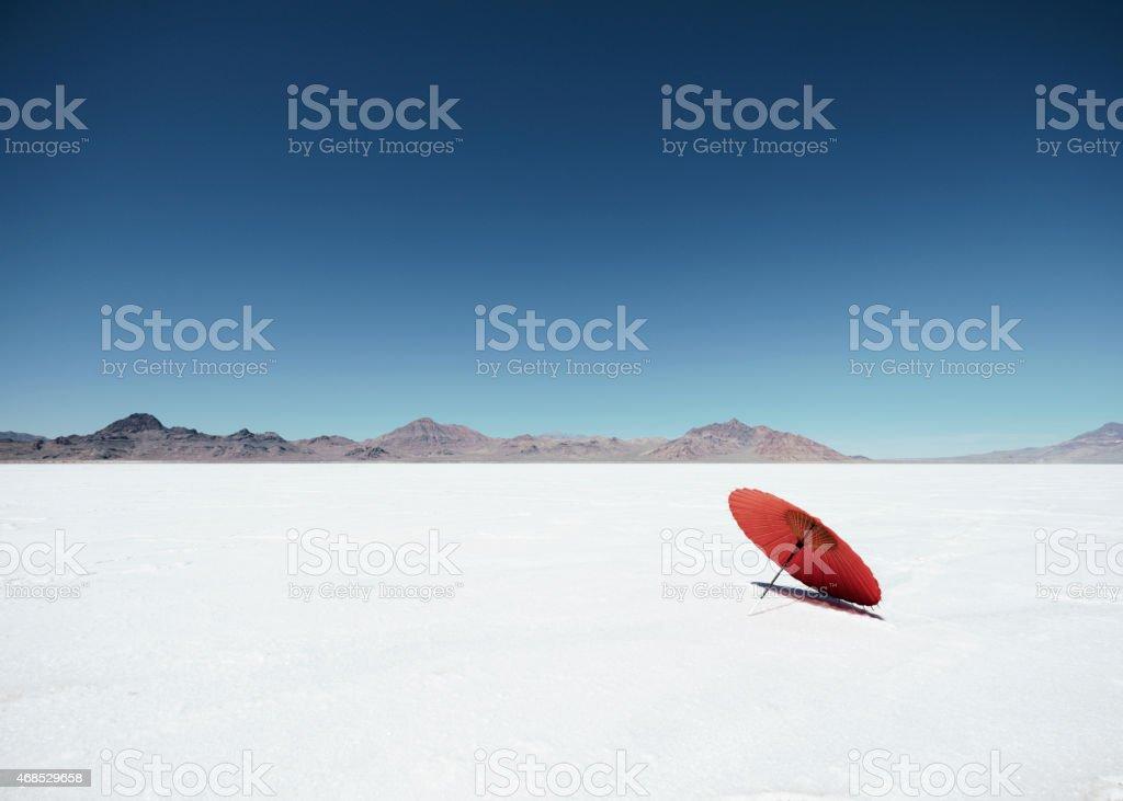 Parasol Umbrella on Salt Flats stock photo