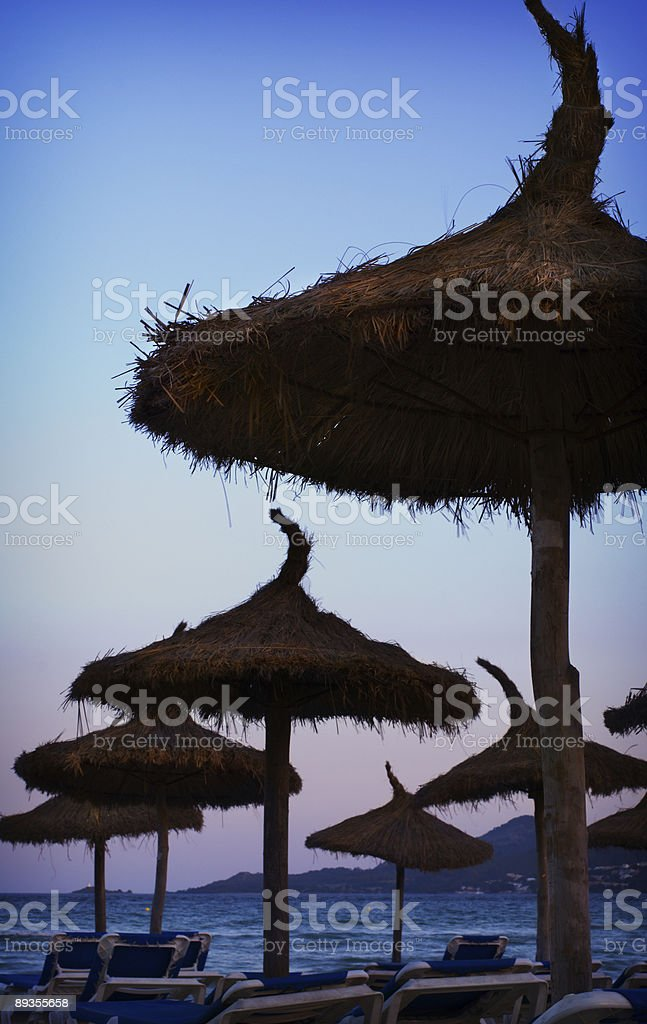 Parasoles in the sunset stock photo