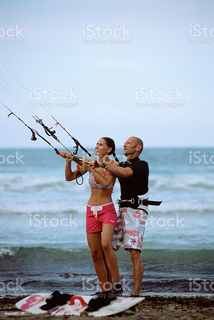Parasurfing couple royalty-free stock photo