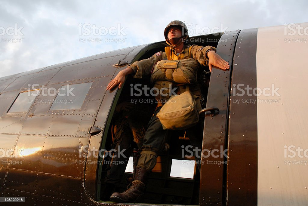 US Paratrooper in Aircraft stock photo