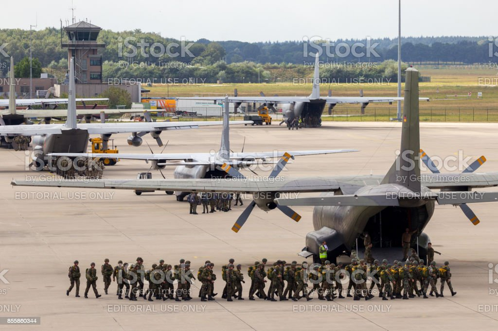 Paratroopers entering their planes stock photo
