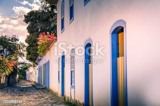 Facade of typical colorful house with cobbled street in Paraty. a colonial city which has become a tourist destination, known for its historic town center of the colonial period of Brazil.