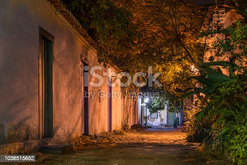 Narrow old small street in Paraty, Rio de Janeiro, Brazil. Old colonial style historic district with tropical plants and stones covering the ground.