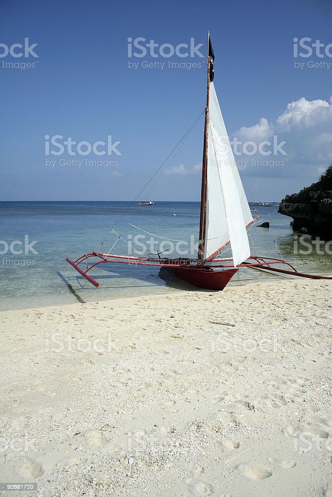 paraw sail boat boracay beach royalty-free stock photo