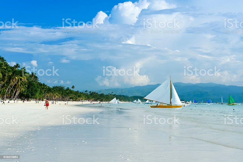 paraw sailboats boracay white beach philippines stock photo