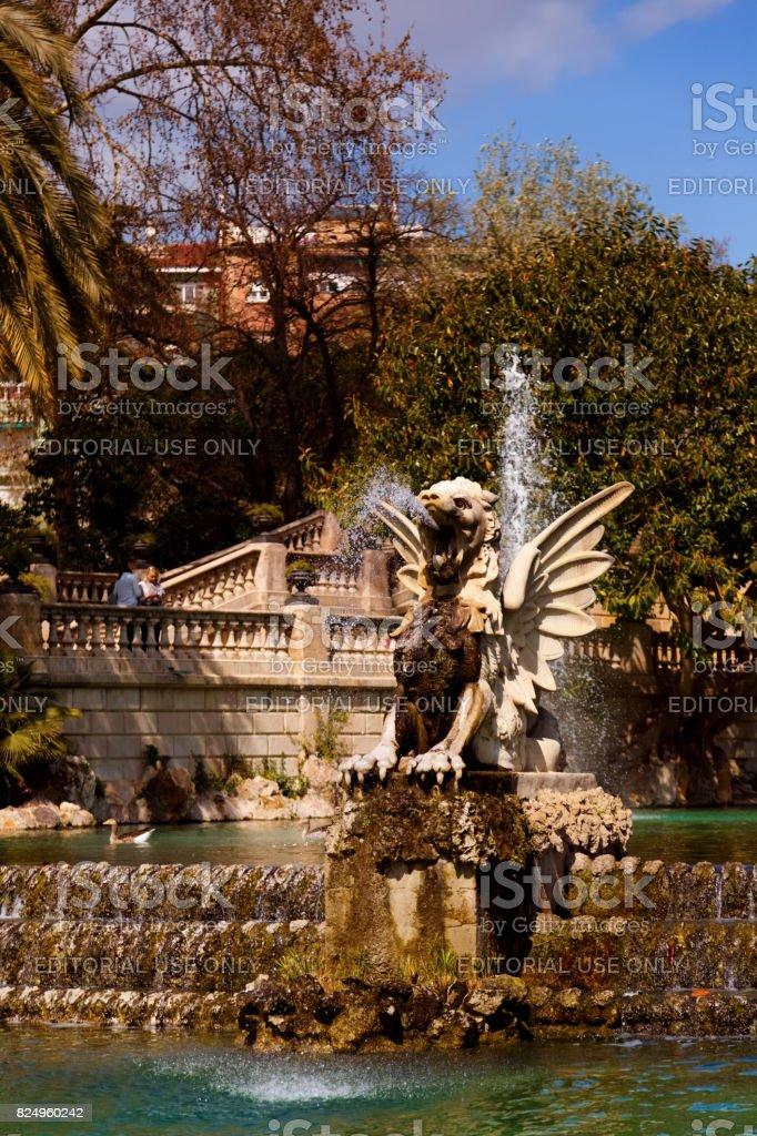 Parc de la Ciutadella - Dragon statue and water fountain stock photo