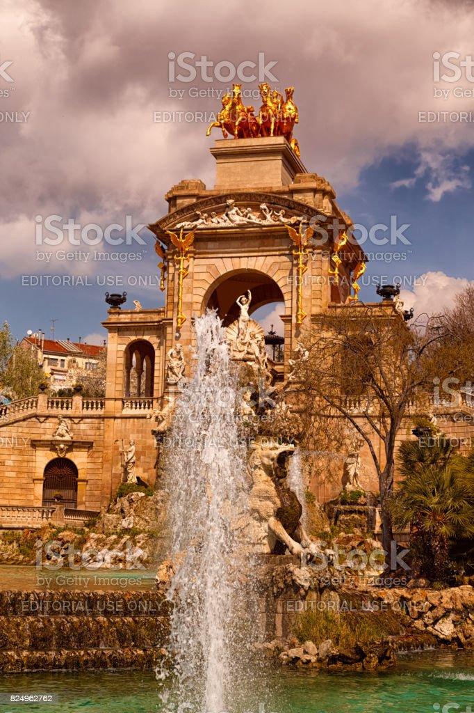 Parc de la Ciutadella - Fountain and Quadriga stock photo