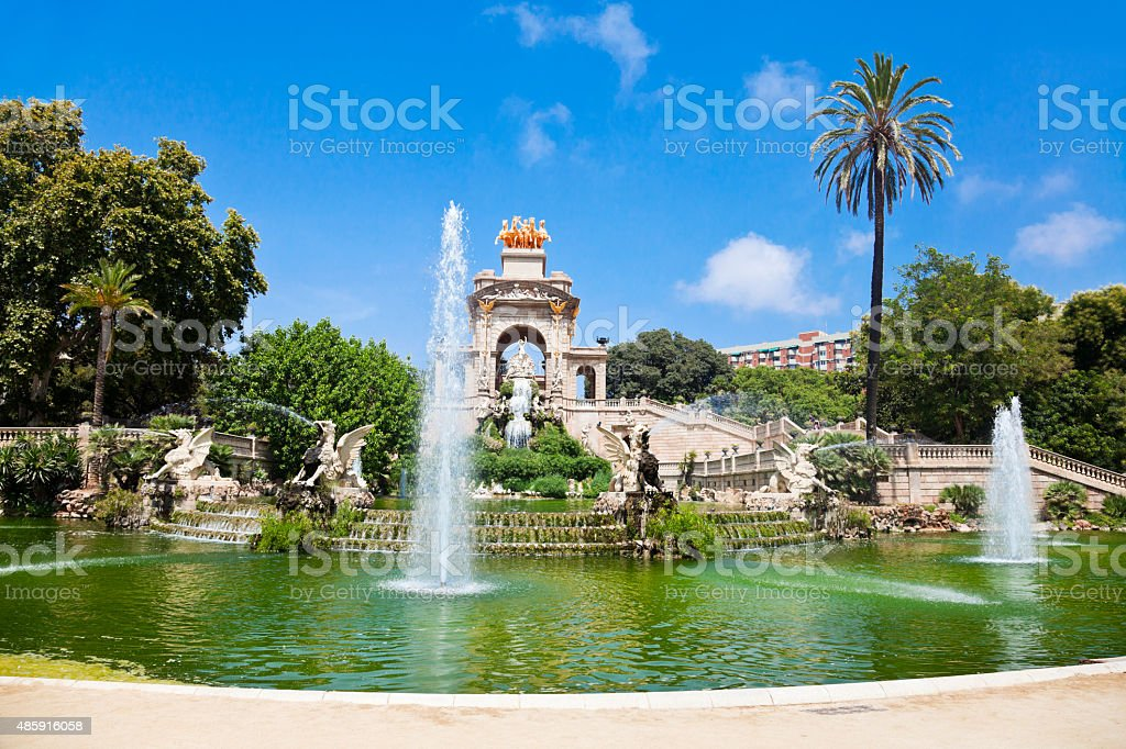 Parc de la Ciutadella in Barcelona Fountain at Parc de la Ciutadella in Barcelona, Spain 2015 Stock Photo