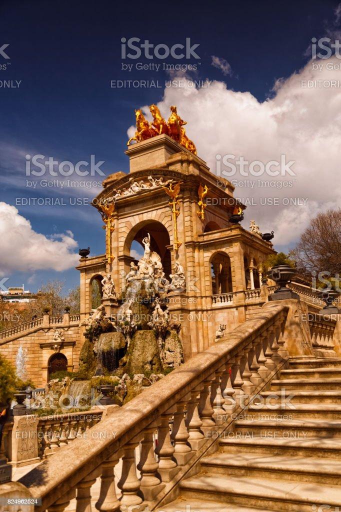 Parc de la Ciutadella - Stairs and Quadriga - Side View stock photo