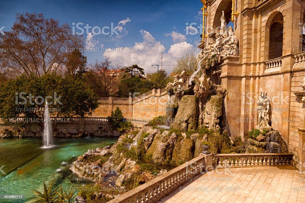 Parc de la Ciutadella - Water Fountain - Side view stock photo