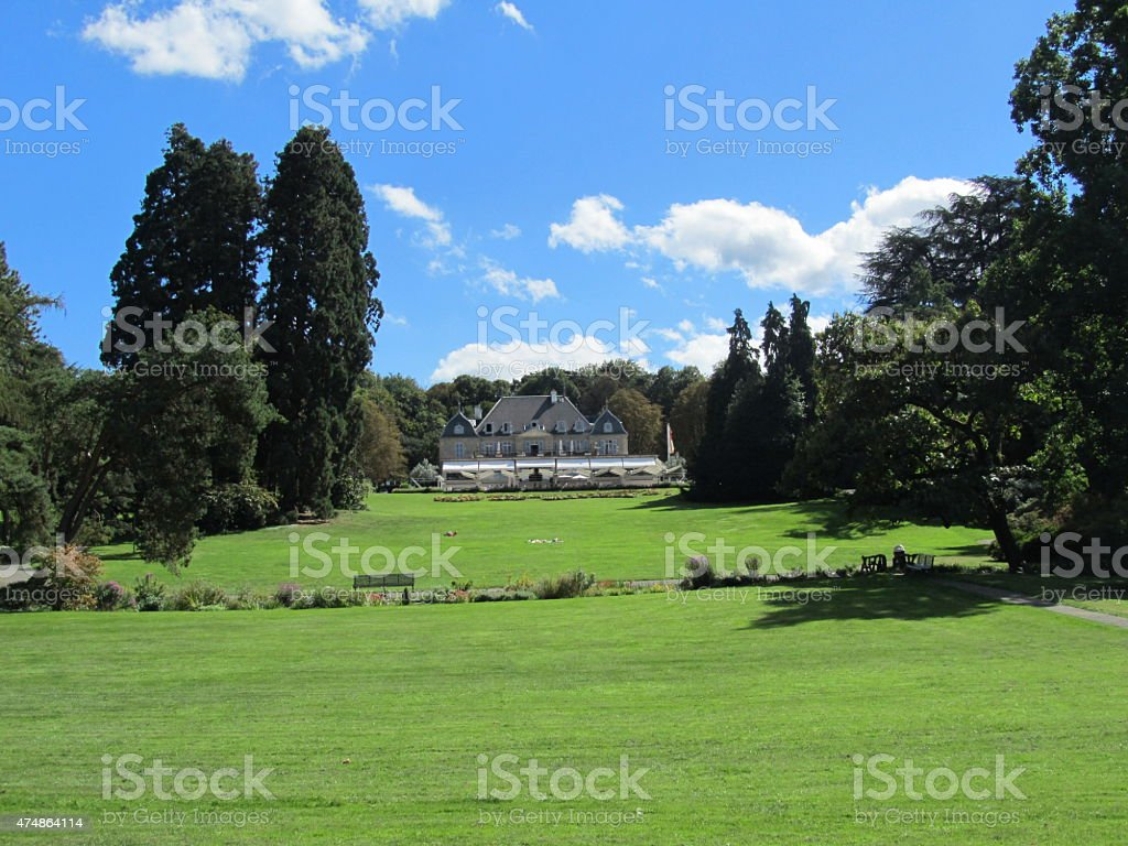 """Parc de la Grange"" Geneva on Lake Geneva blue sky Parc de la Grange in Geneva on Lake Geneva Switzerland blue sky 2015 Stock Photo"