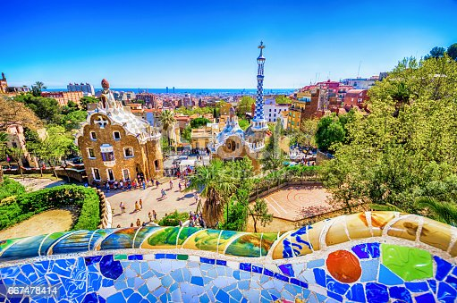bench parc guell barcelona cityscape antoni gaudi unrecognisable people