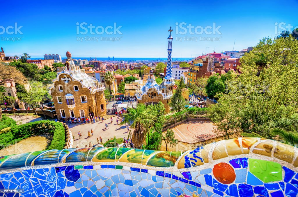 parc guell antoni gaudi barcelona mosaic bank bench stock photo