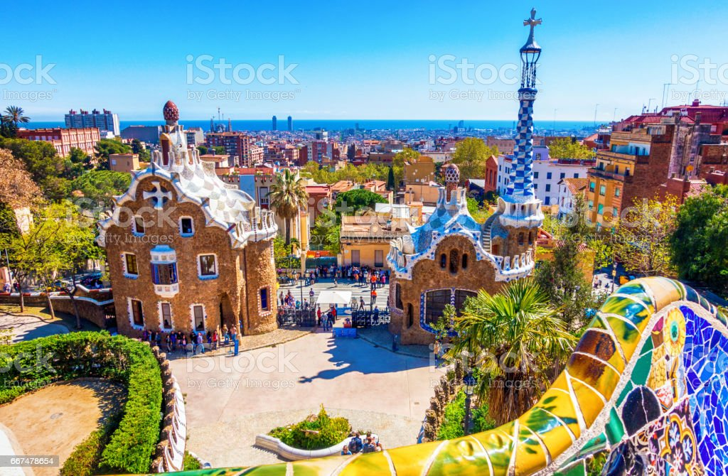 parc guell antoni gaudi barcelona mosaic bank bench stock photo