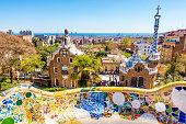 istock parc guell antoni gaudi barcelona mosaic bank bench 667481092