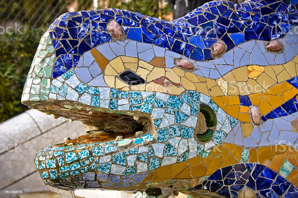 Parc Guell Lizard Fountain by Gaudì, Barcelona Symbol royalty-free stock photo