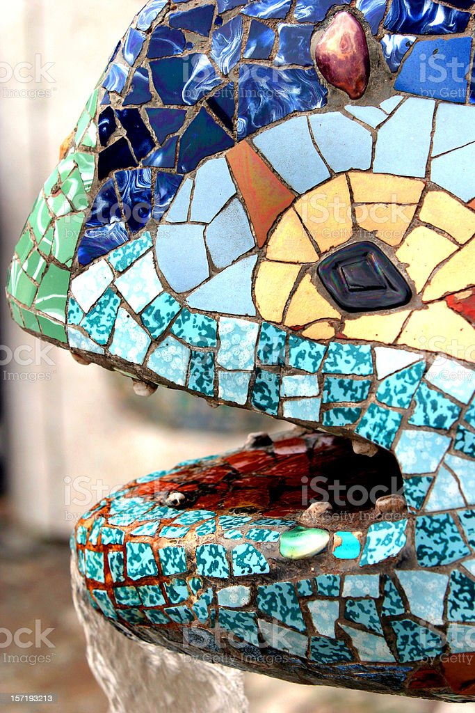 Parc Guell Lizard Fountain Gaudi Barcelona royalty-free stock photo