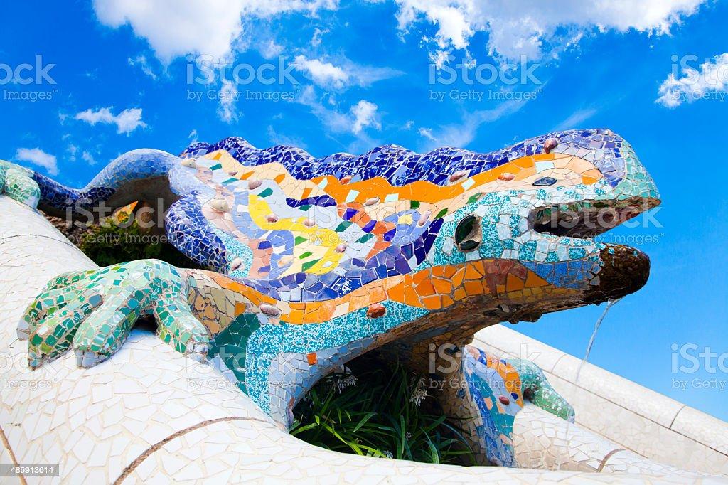 Parc Guell Lizard Fountain Gaudi Barcelona, Spain stock photo