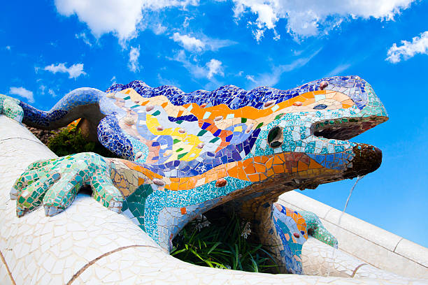 Parc Guell Lizard Fountain Gaudi Barcelona, Spain Parc Guell Lizard Fountain Gaudi Barcelona, Spain gracia baur stock pictures, royalty-free photos & images