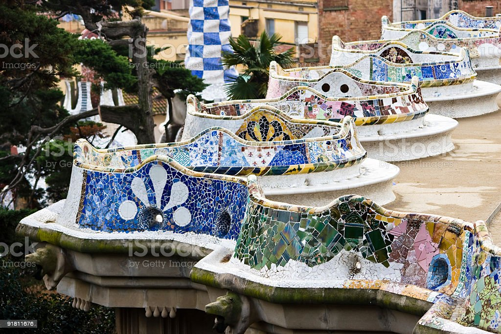 Parc Guell Winding Bench Artistic Architecture By Gaudi In