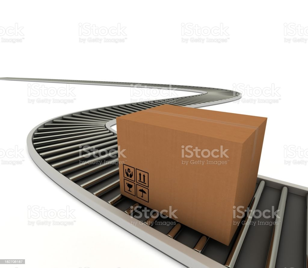 Parcel on Roller track royalty-free stock photo