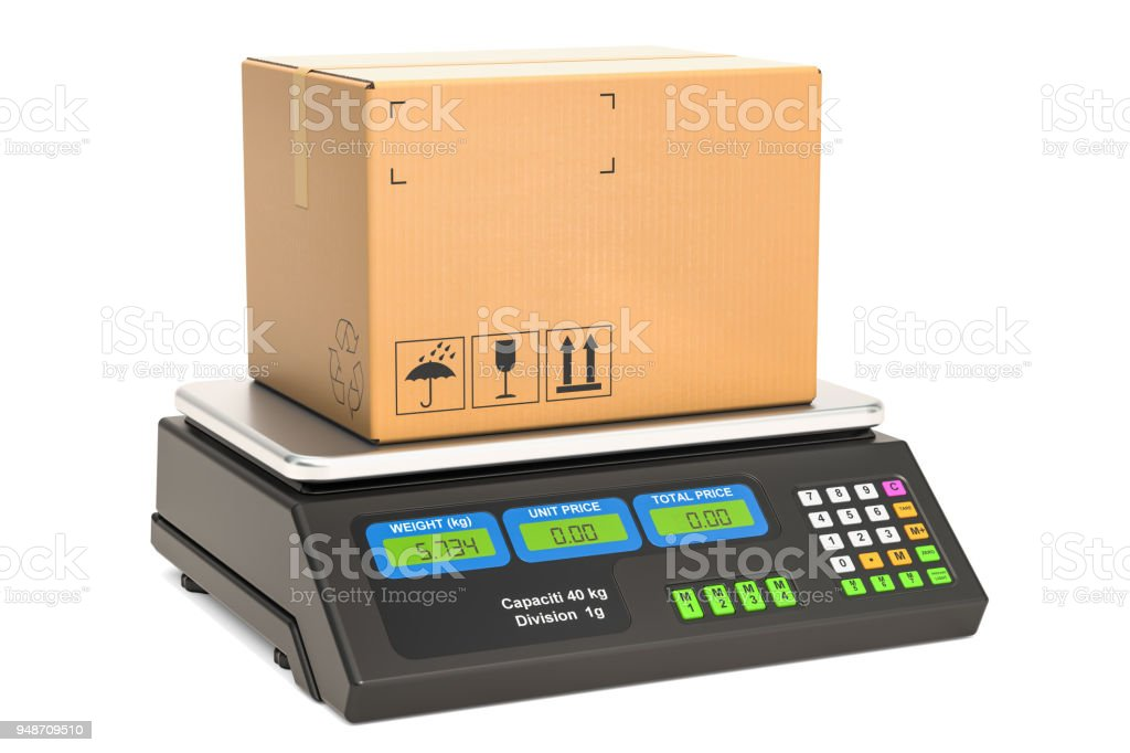 Parcel on the price computing scale, 3D rendering isolated on white background stock photo