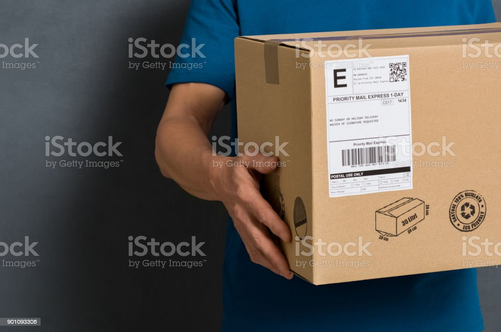 Parcel ready for shipment stock photo
