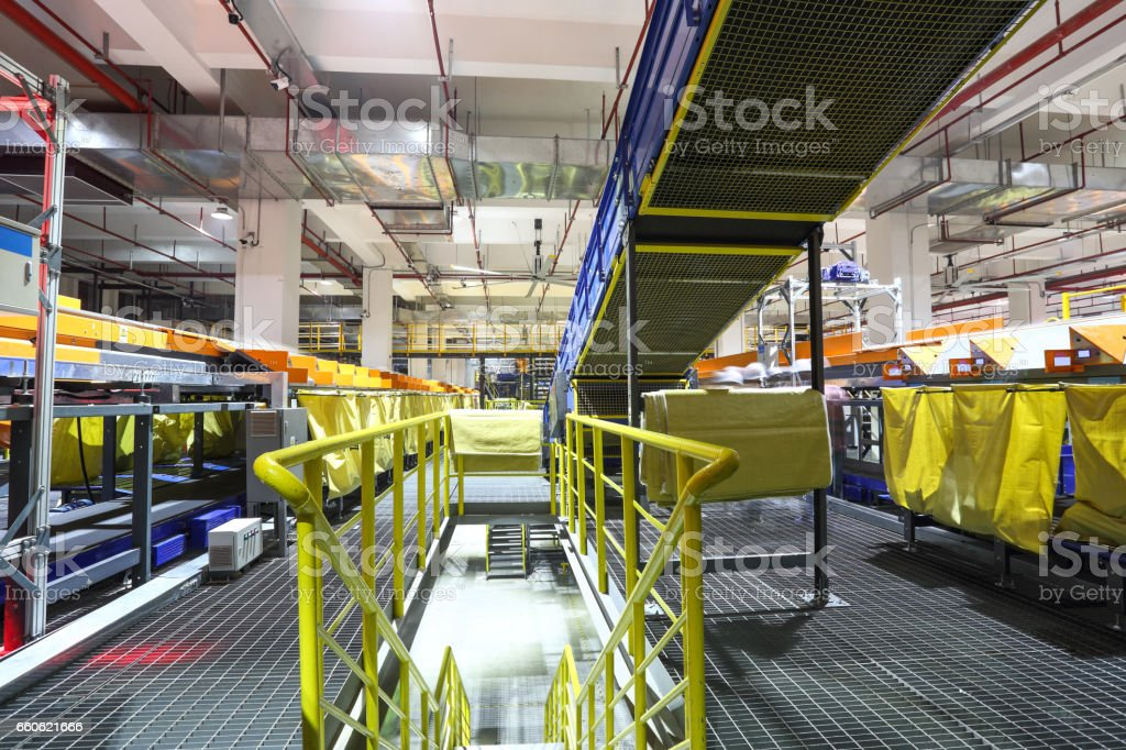 Parcel sorting through the production line royalty-free stock photo