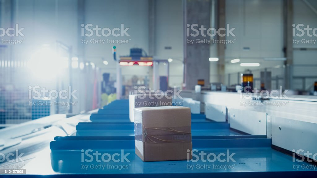 Parcels are Moving on Belt Conveyor at Post Sorting Office. Box POV. stock photo