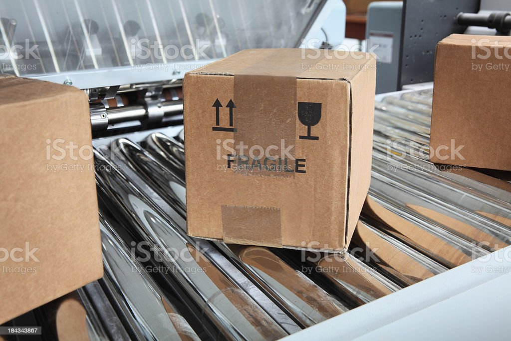 Parcels on packaging line royalty-free stock photo