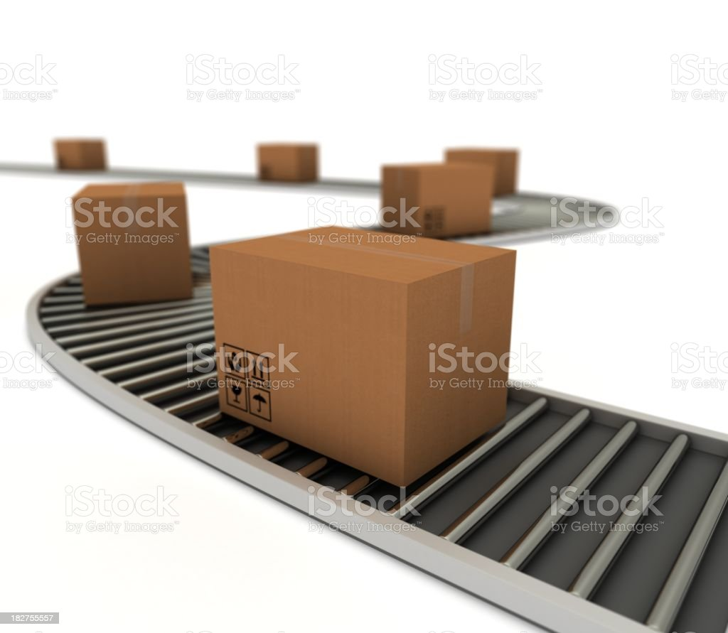 Parcels on Roller track royalty-free stock photo