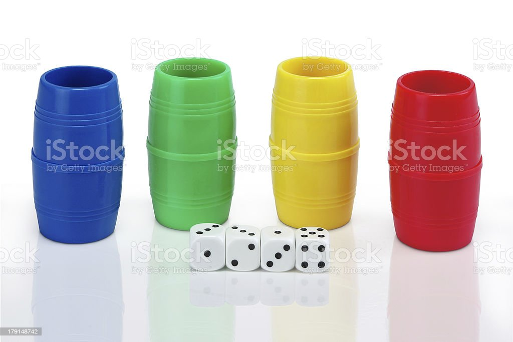 Parcheesi shakers and dices royalty-free stock photo