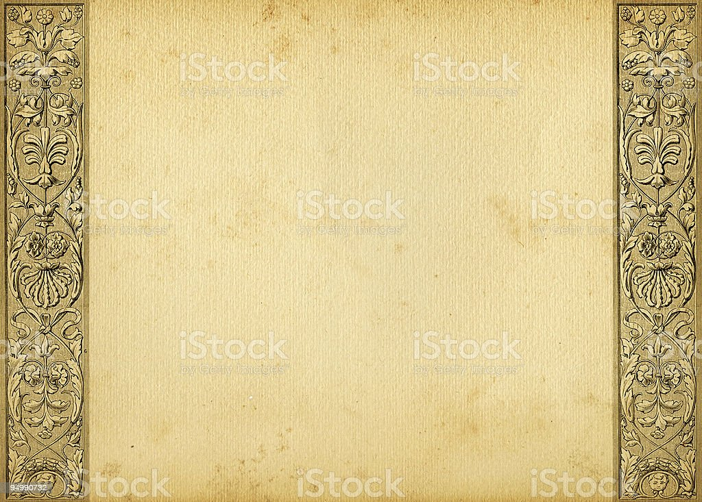 Parchment background with border resembling the renaissance stock photo