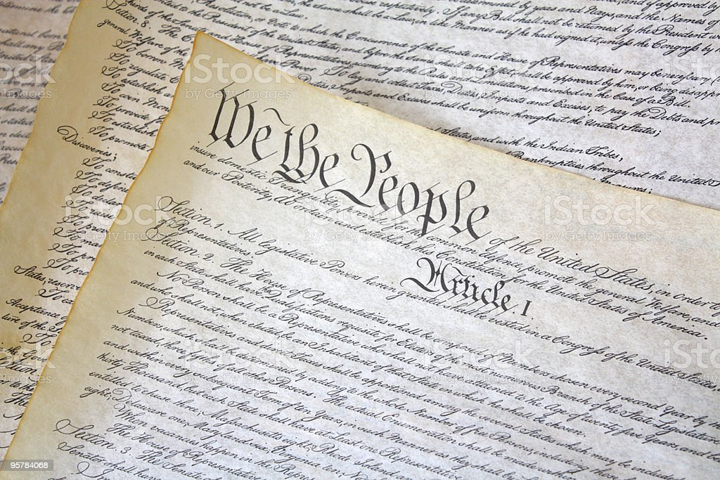 Parchment Copy of United States Constitution stock photo