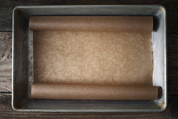 Parchment in the metal baking tray top view – Foto