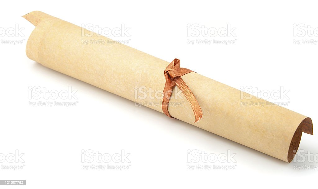 Parchment roll stock photo