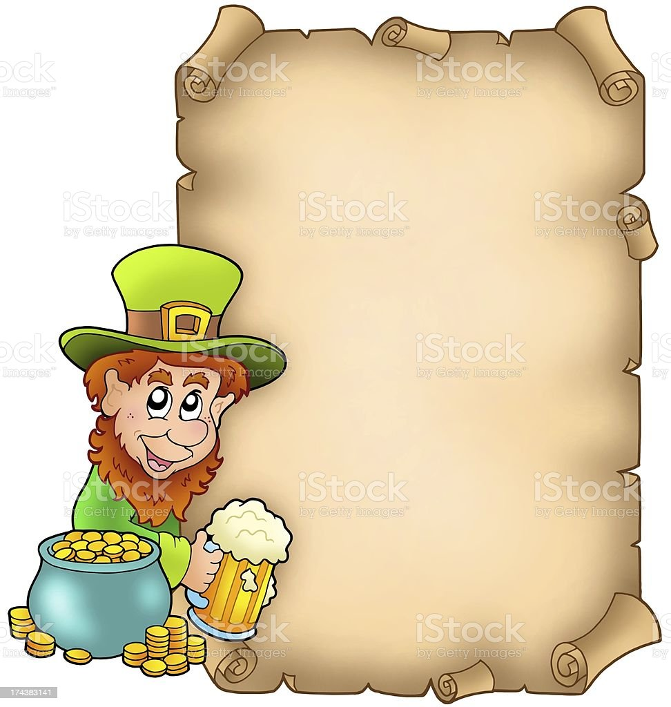 Parchment with leprechaun and gold stock photo