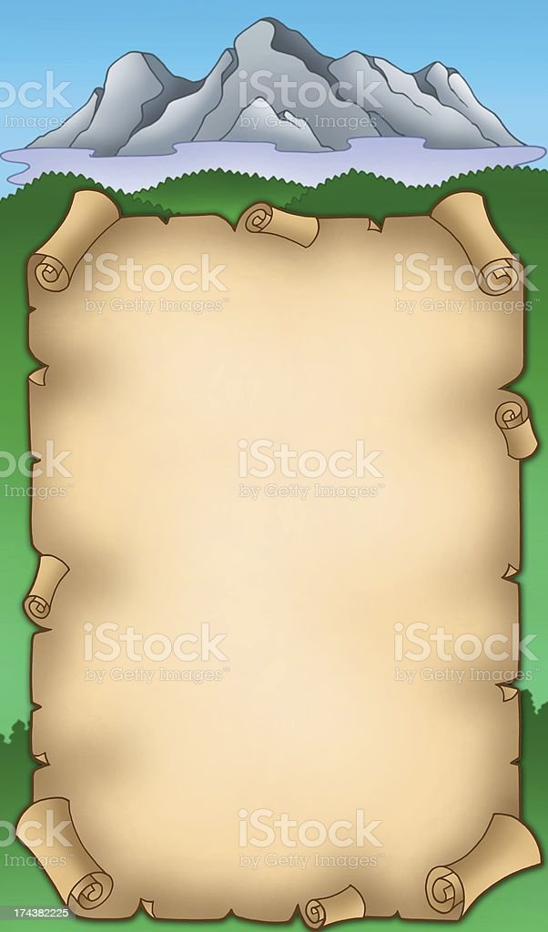 Parchment with mountains royalty-free stock photo