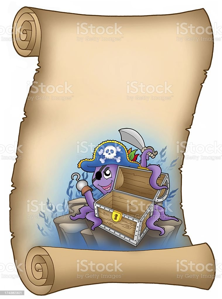 Parchment with pirate octopus royalty-free stock photo