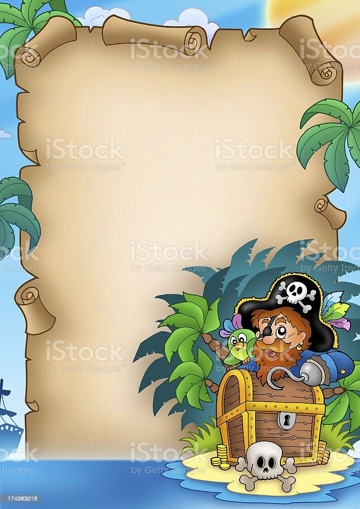 Parchment with pirate on island royalty-free stock photo