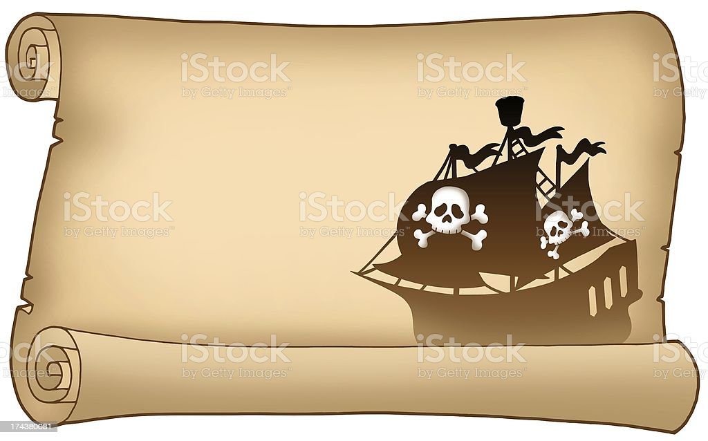 Parchment with pirate ship silhouette royalty-free stock photo