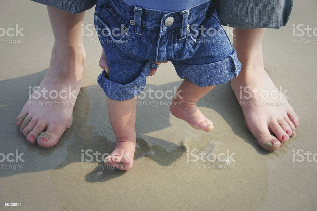 Parent and Baby - feet in the sand royalty-free stock photo