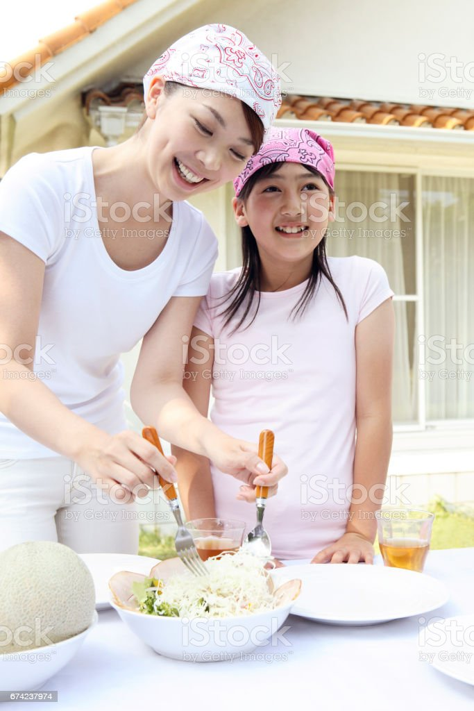 Parent And Child Cooking Stock Photo & More Pictures of