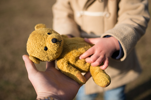 Bovenliggende En Onderliggende Overhandigen Een Teddybeer Stockfoto en meer beelden van Alleenstaande moeder