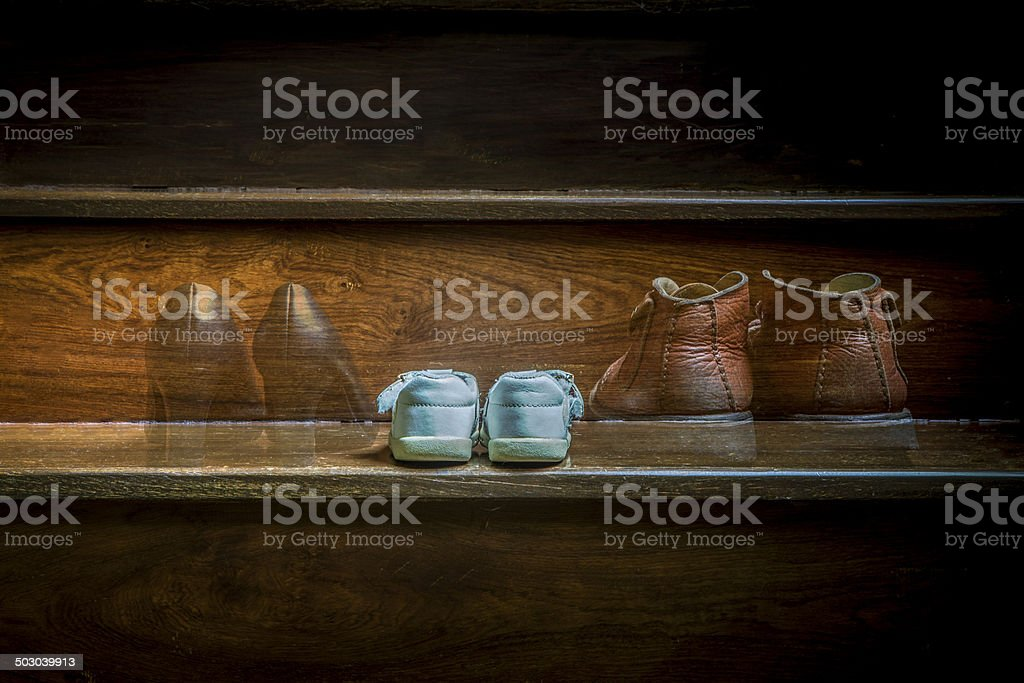 Parent and child shoes,Foundling stock photo