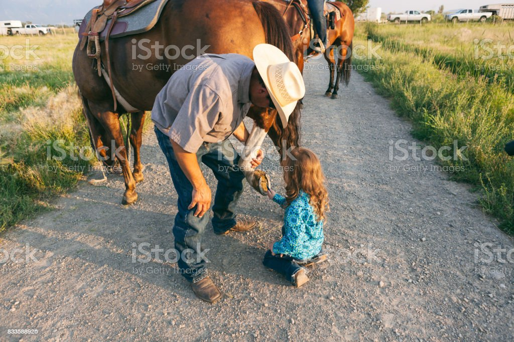 parent teaching how to care for horse stock photo