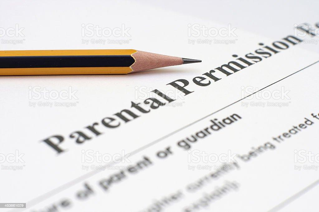 Parental permission form stock photo