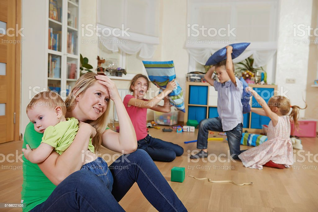parenting and family frustration stock photo