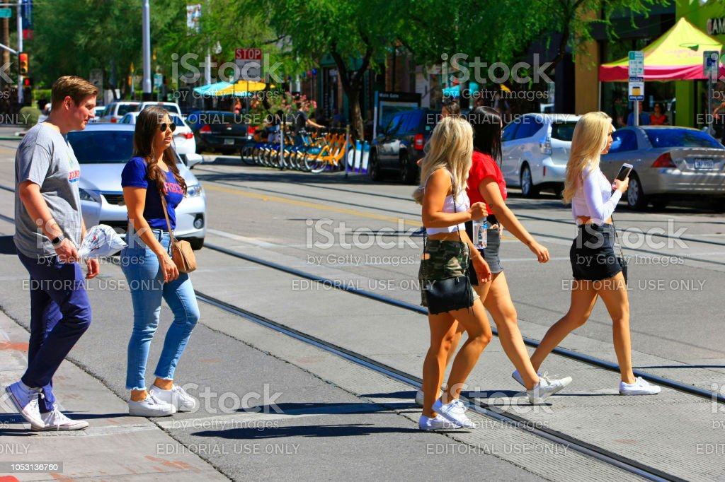 Parents and freshman female students together in Tucson AZ for the UA weekend family visit program stock photo